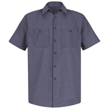 Short Sleeve Industrial Work Shirt With Stripe Blue Charcoal Check Thumbnail