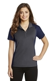 Women's Colorblock Micropique Sport-Wick Polo Iron Grey with True Navy Thumbnail