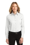 Women's Long Sleeve Easy Care Shirt White with Light Stone Thumbnail