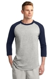 Colorblock Raglan Jersey Heather Grey with Navy Thumbnail