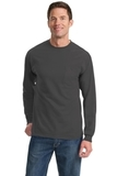 100 Cotton Long Sleeve T-shirt With Pocket Charcoal Thumbnail