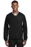 Tipped V-neck Raglan Wind Shirt Black with White Thumbnail