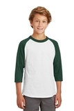 Youth Colorblock Raglan Jersey White with Forest Thumbnail