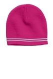 Sport-tek Spectator Beanie Pink Raspberry with White Thumbnail