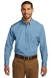 Port Authority Long Sleeve Carefree Poplin Shirt Carolina Blue Thumbnail
