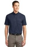 Tall Short Sleeve Easy Care Shirt Navy with Light Stone Thumbnail