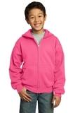Youth Full-zip Hooded Sweatshirt Neon Pink Thumbnail