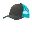 Snapback Trucker Cap Grey Steel with Neon Blue Thumbnail