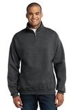 1/4-zip Cadet Collar Sweatshirt Black Heather Thumbnail