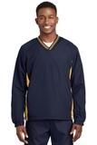 Tipped V-neck Raglan Wind Shirt True Navy with Gold Thumbnail