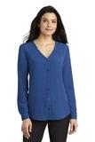 Women's Long Sleeve Button-Front Blouse True Blue Thumbnail