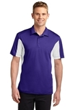 Side Blocked Performance Micropique Polo Shirt Purple with White Thumbnail