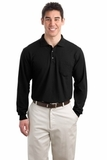 Silk Touch Long Sleeve Polo Shirt With Pocket Black Thumbnail