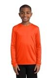 Youth Long Sleeve Competitor Tee Neon Orange Thumbnail