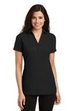 Women's Silk Touch Y-Neck Polo Shirt Black Thumbnail