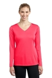 Women's Long Sleeve V-neck Competitor Tee Hot Coral Thumbnail