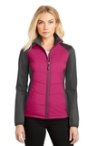Women's Hybrid Soft Shell Jacket Pink Azalea with Grey Steel Thumbnail