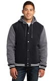 Insulated Letterman Jacket Black with Vintage Heather Thumbnail