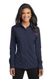 Women's Port Authority Dimension Knit Dress Shirt Dark Navy Thumbnail