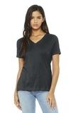 BELLA+CANVAS Women's Relaxed Jersey Short Sleeve V-Neck Tee Dark Grey Heather Thumbnail