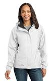 Women's Eddie Bauer Rain Jacket White with Grey Steel Thumbnail