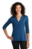 Ladies UV Choice Pique Henley True Blue Thumbnail