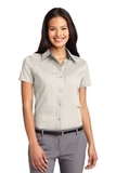 Women's Short Sleeve Easy Care Shirt Light Stone with Classic Navy Thumbnail