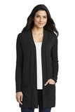 Women's Concept Long Pocket Cardigan Black Thumbnail