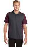 Colorblock Micropique Sport-Wick Polo Iron Grey with Maroon Thumbnail