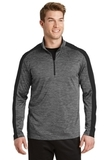 Electric Heather Colorblock 1/4-Zip Pullover Grey Black Electric with Black Thumbnail