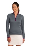 Women's Nike Golf Dri-Fit 1/2-Zip Cover-Up Dark Grey with Sport Fuchsia Thumbnail