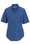 Women's Button Down Poplin Shirt SS French Blue Thumbnail