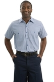 Long Size Short Sleeve Striped Industrial Work Shirt Light Blue with Navy Thumbnail