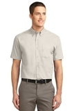 Short Sleeve Easy Care Shirt Light Stone with Classic Navy Thumbnail