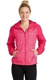 Women's Heather Colorblock Raglan Hooded Wind Jacket Pink Raspberry Heather with Pink Raspberry Thumbnail
