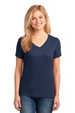 Women's 5.4-oz 100 Cotton V-neck T-shirt Navy Thumbnail