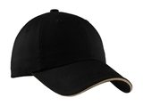 Sandwich Bill Cap With Striped Closure Black with Khaki Thumbnail