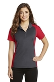 Women's Colorblock Micropique Sport-Wick Polo Iron Grey with True Red Thumbnail