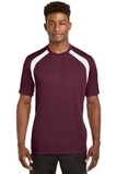 Dry Zone Colorblock Crew Maroon with White Thumbnail