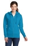 Women's Classic Full-Zip Hooded Sweatshirt Neon Blue Thumbnail