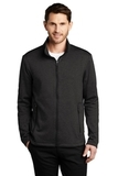 Collective Striated Fleece Jacket Deep Black Heather Thumbnail