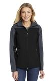 Women's Hooded Core Soft Shell Jacket Black with Battleship Grey Thumbnail