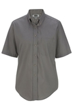 Women's Button Down Poplin Shirt SS Titanium Thumbnail