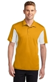 Side Blocked Performance Micropique Polo Shirt Gold with White Thumbnail