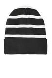 Striped Beanie with Solid Band Black with White Thumbnail