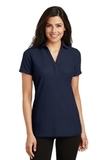 Women's Silk Touch Y-Neck Polo Shirt Navy Thumbnail