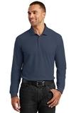 Long Sleeve Core Classic Pique Polo River Blue Navy Thumbnail