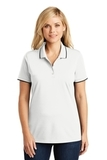 Women's Dry Zone UV MicroMesh Tipped Polo White with Deep Black Thumbnail