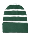 Striped Beanie with Solid Band Forest Green with White Thumbnail