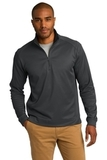 Heavyweight Vertical Texture 1/4-zip Pullover Iron Grey with Black Thumbnail